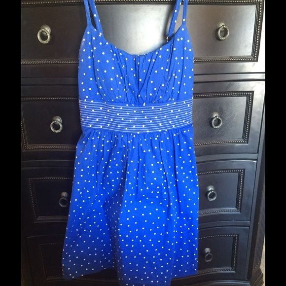 Cute polka dot strappy sundress Cute blue strappy sundress with white polka dots. Padded breast area so no bra is needed. Excellent condition. Worn once. B. Smart Dresses Midi