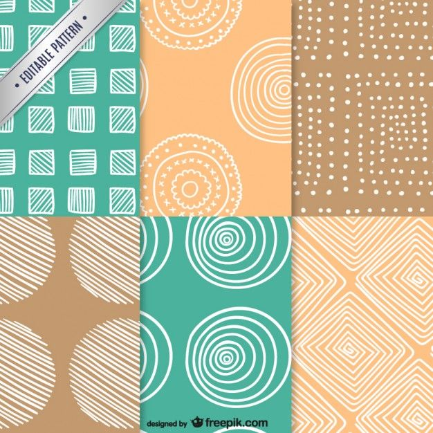 Vintage patterns pack Free Vector