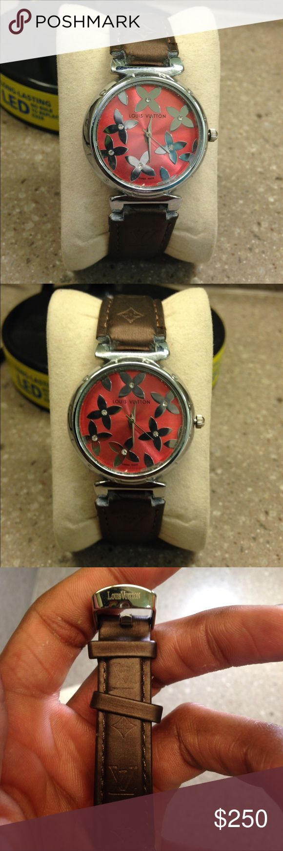 Brown Louis Vuitton Watch -Louis Vuitton Logo Engraved In The Scrap -Original Price Was $1150 -Diamonds on the face of the Watch -Classic Designer Watch, not to flashy but elegant  -Great Deal, Purchase for the fraction of the price  -Don't hesitate to make a offer, I accept ALL offer Louis Vuitton Accessories Watches
