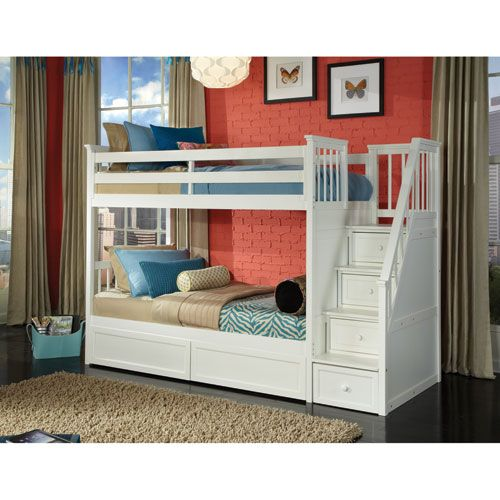 School House White Stair Loft Twin Bed with Storage