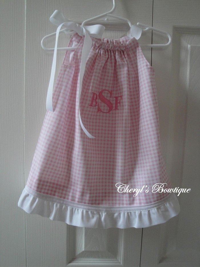 gingham pillow case dress w/ monogram and ruffle