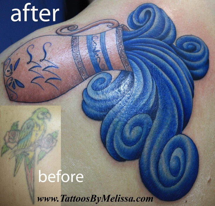 Cover-up tattoo of a parrot with an Aquarius vase and water  Artist: Melissa Capo  www.TattoosByMelissa.com