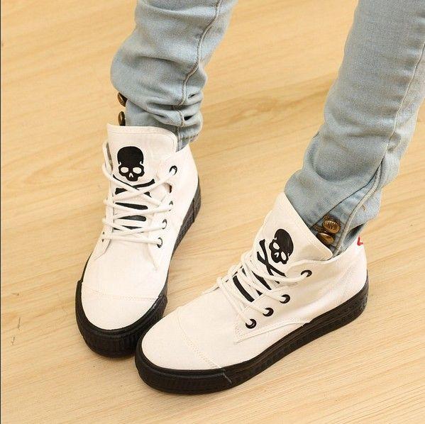 Edgy skull shoes unique canvas shoes black white