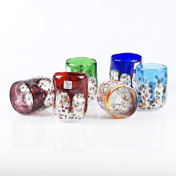 Murano Glass tumblers in Murrina  Trademark of by YourMurano, €390.00
