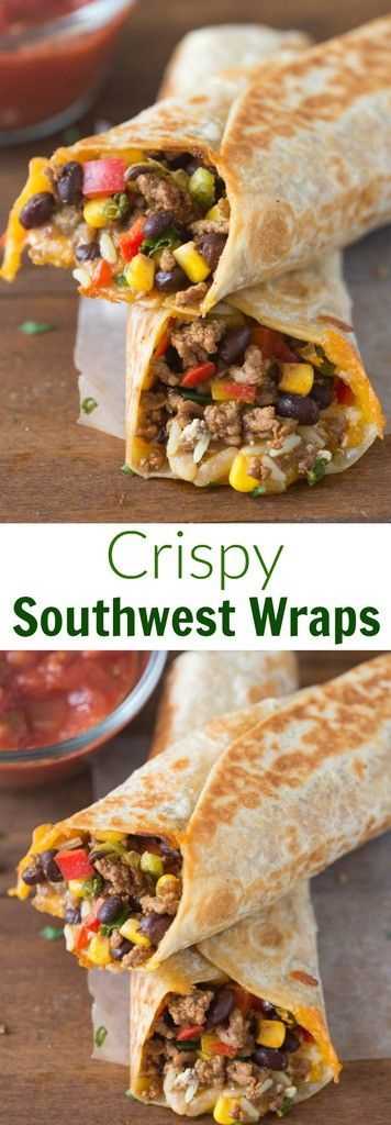 Crispy Southwest Wraps are one of our go-to, easy meals. They take less than 30-minutes and my family loves them! via @betrfromscratch