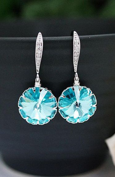 Earrings Light Turquoise Swarovski round