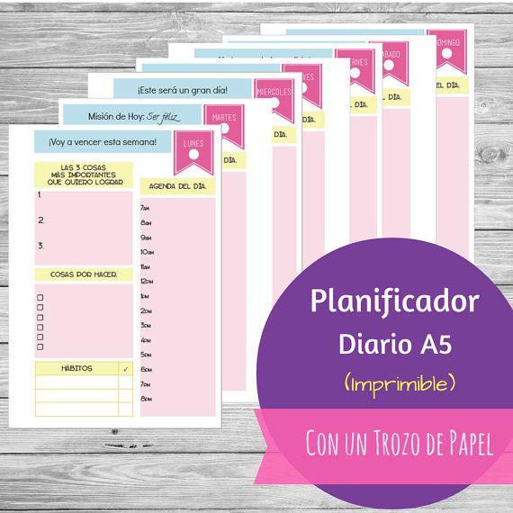 Planificador / Agenda Diaria Tamaño A5 por Conuntrozodepapel