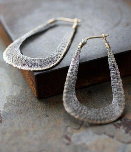 Mesh n Metal Earrings - as seen on Rachel Bilson. $118.00, via Etsy.