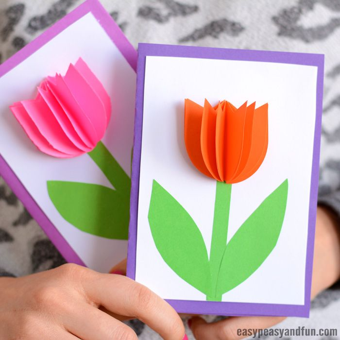 3d Paper Tulip Card Simple Mother S Day Card Idea Tulips Card