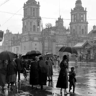 Mexico City, rainy day, 1920s...