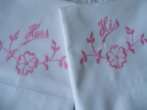Vintage  WHITE PILLOWCASES  pink by YorkshireTeaCupShop on Etsy, $15.00