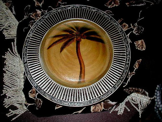 Set of 6 Charger Plates  Palm Tree  Tropical by time2reflect, $25.00