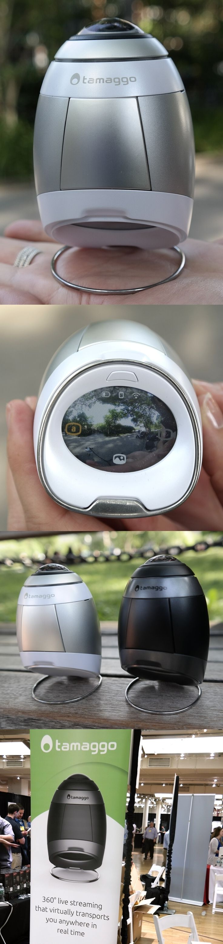 """The $399 Tamaggo 360LiveCam live-streaming 360-degree camera has a clever touchscreen which lets users preview and review their work. Panomorph image technology, a 12MP sensor and an f/2.2 lens by Immervision keep 360-by-220-degree HD videos and 4K photos evenly lit and sharp. Free Android and iOS apps support remote viewing and social media sharing. Users can link to the unit directly or via Wi-Fi. The Tamaggo, which will have a cameo in the movie """"All I See is You,"""" is now on sale. #Pepcom"""