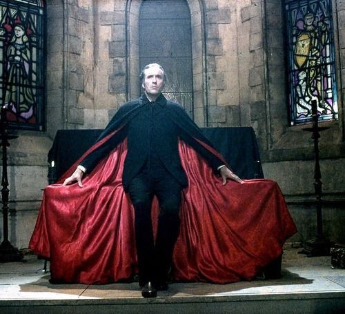 Count Dracula, Christopher Lee. He used to scare the crap out of me when I was a kid in the 70s.