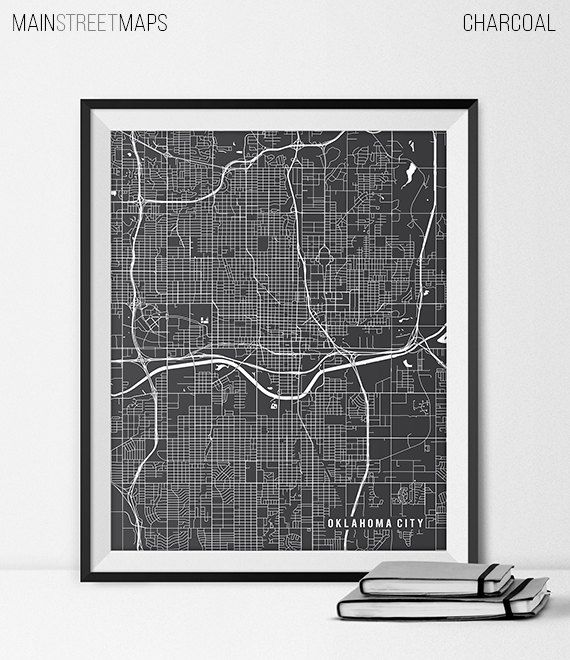 Oklahoma City Map Print Oklahoma City Poster of by MainStreetMaps