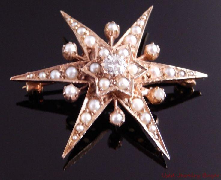 H&T Victorian 9k Rose Gold .36ctw Diamond & Pearl Star Shaped Pin Brooch Pendant #HT