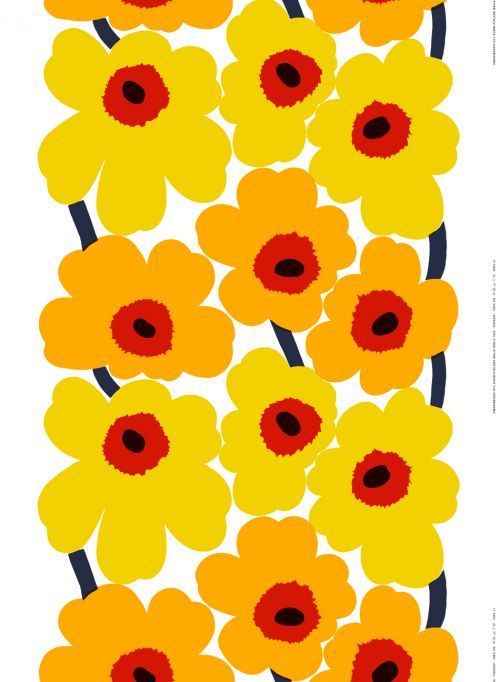 Sunny Unikko. The rich yellow, orange and red accents featured in this Unikko print add lively warmth to any space. The 100% heavyweight cotton fabric is durable, so get creative and make pillows, a duvet cover, wall hanging or tablecloth. It's also ideal for any wearable creation you dream up, from skirts to bags.