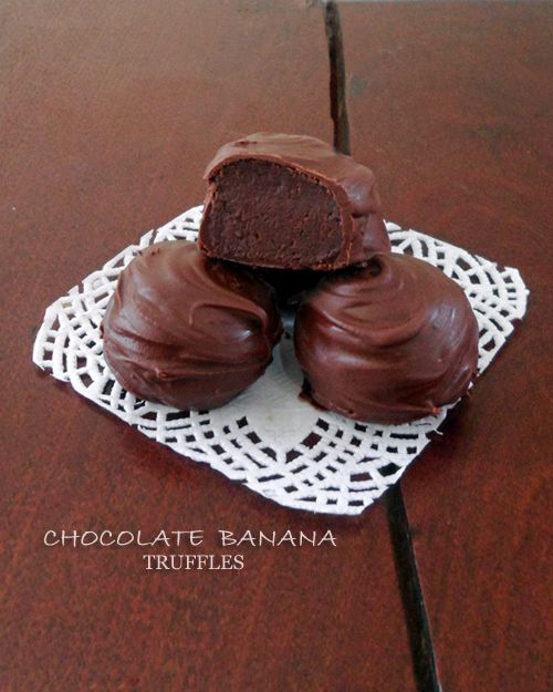 These Chocolate Banana Truffles have a center of soft banana chocolate ganache with a crisp dark chocolate shell.