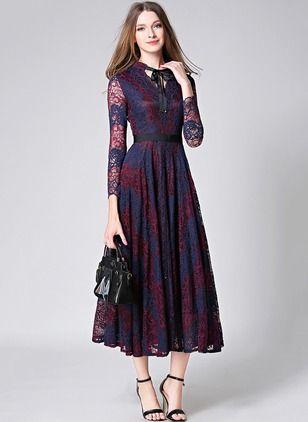 Koronka Blok Kolorów Długi Rękaw Do Połowy Łydki Elegancki Sukienki (1041862) @ floryday.com