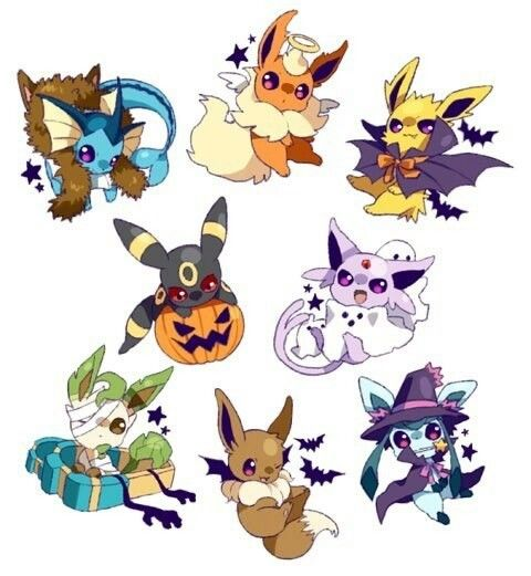 Happy Halloween, Eevee evolutions, Vaporeon, werewolf, Flareon, angel, Jolteon, vampire, Umbreon, pumpkin, Espeon, ghost, Leafeon, mummy, Evee, bat, Glaceon, witch, cute; Pokemon