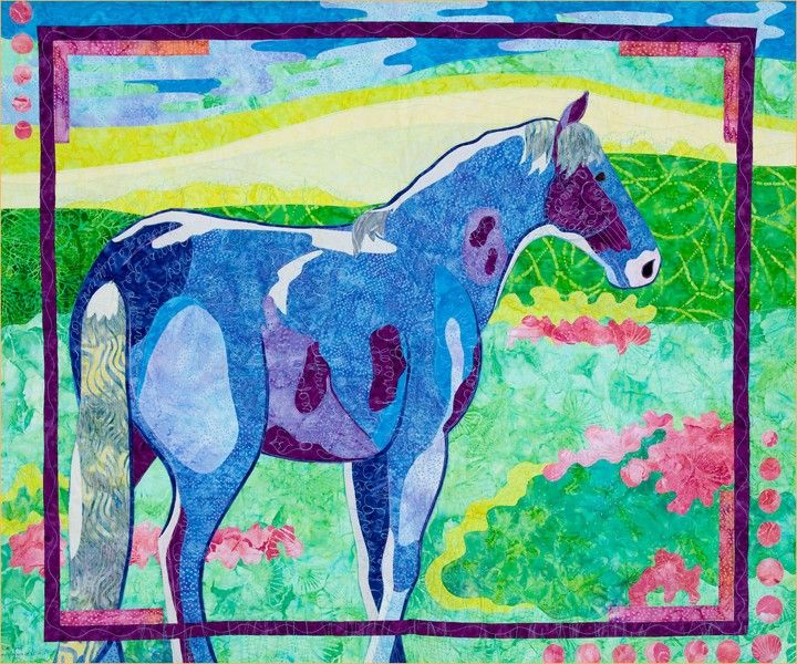 """A horse of a different color, with blue and purple markings makes for an unique and colorful wall hanging.  This pattern contains easy to follow instructions, full size layout guide and pattern pieces that are already reversed for applique.  Finished size  41"""" X 34"""""""