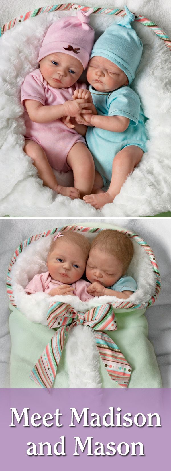 Meet Madison and Mason, twin baby dolls by Master Doll Artist Donna Lee!