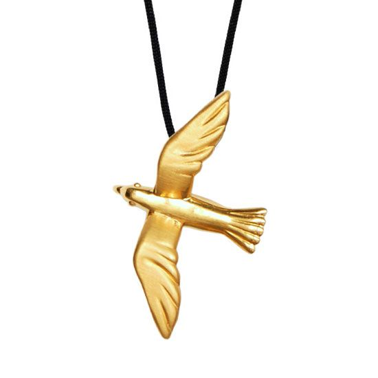 Seagull - Gold Plated Silver Pendant #seagull #Greece #holiday #see #gift #jewellery