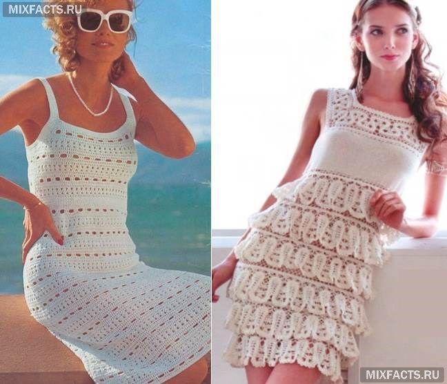 вязаные платья кроше летние белые вязаные платья