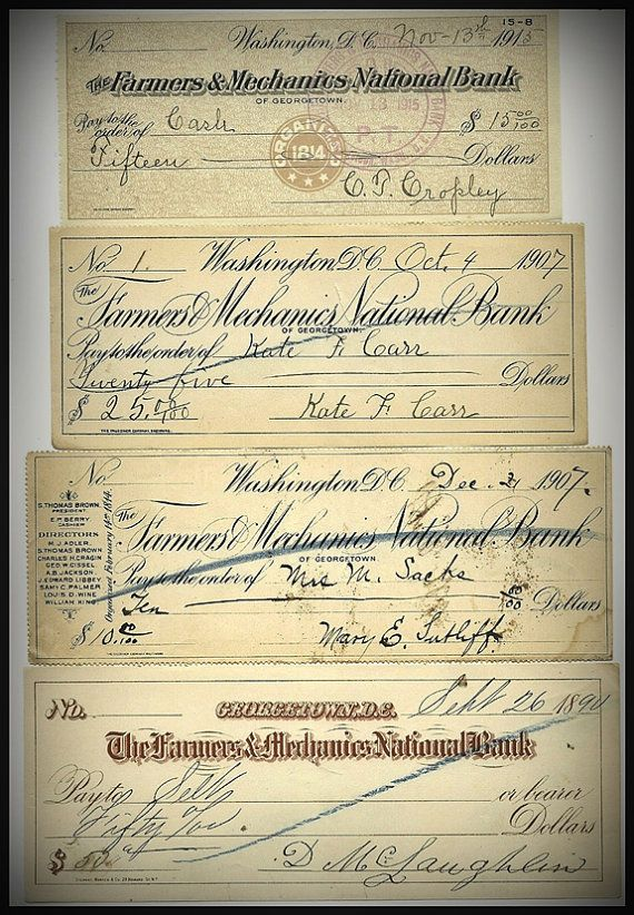 American Bank Check / Cheque  Antique American by thevintagearcade, $10.00