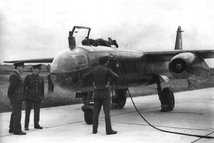 Allied personnel examine a captured Arado Ar 234.