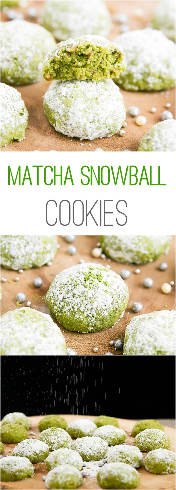 Matcha Snowball Cookies. An easy holiday cookie that can be made ahead of time.