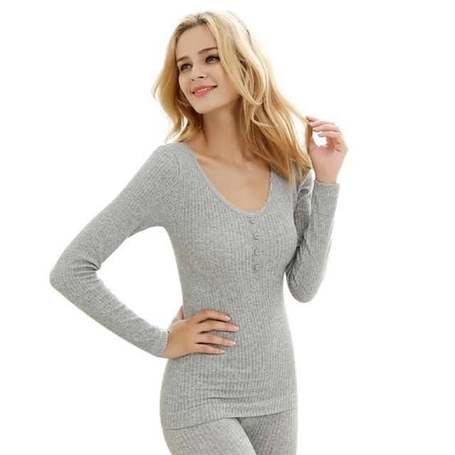 Women's Solid Color Thermal Underwear Set Long-Sleeved Top + Trousers Two-Piece H