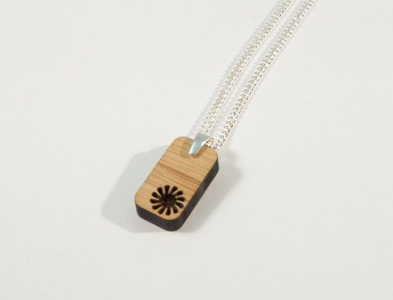 Bamboo and Solid Silver Pendant with Geoflower by BeamDesigns