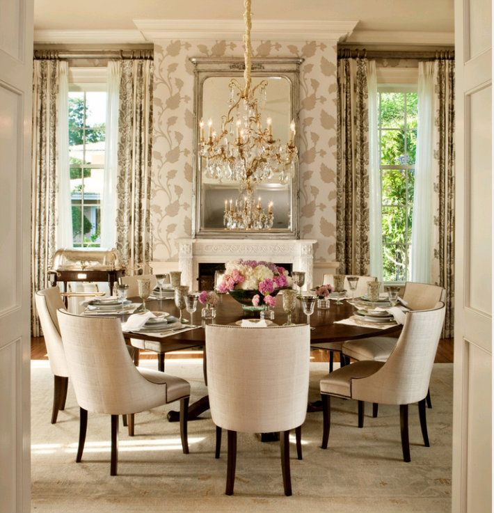 Wowthe Focal Point Of This Gorgeous Dining Room Is The Chandelier Round TablesDining