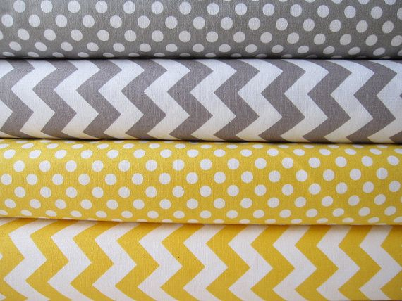 Yellow and Gray Small Chevrons and Dots by Riley by minimushrooms, $18.50
