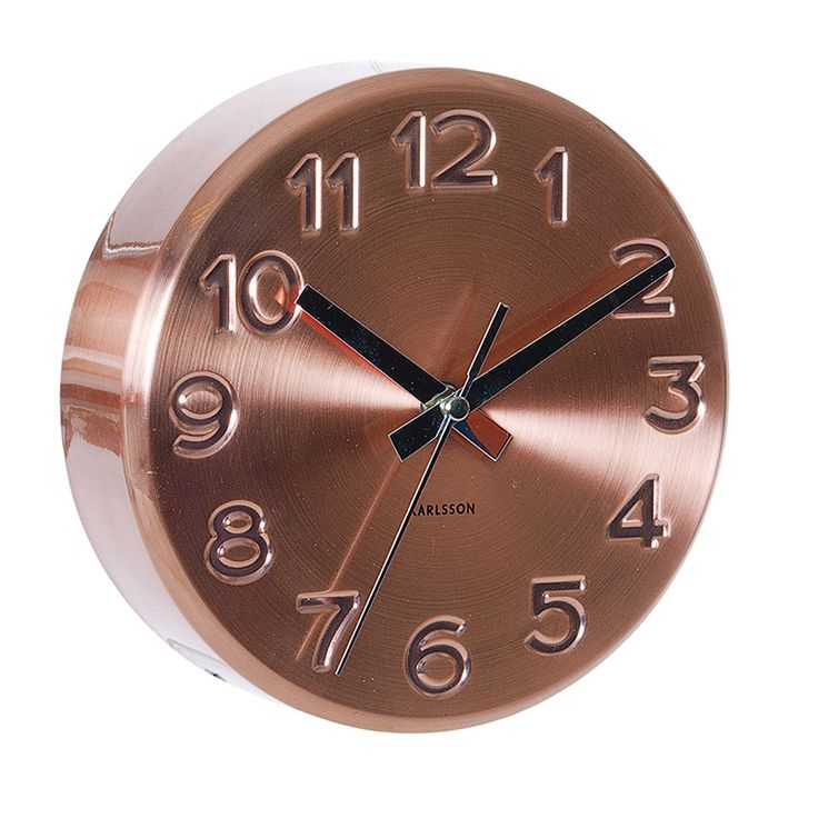Bold Engraved Numbers Wall Clock, Copper by Karlsson at Dotmaison
