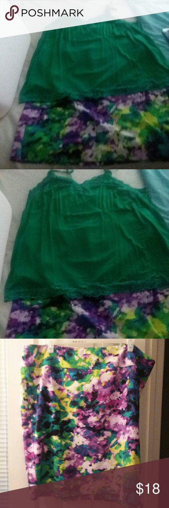 Outfit 24W Multi Colored skirt & 26W Green cami NWOT, outfit Lane Bryant plus size 24W Multi Colored Print Pencil skirt and lane Bryant 26/28W Green with lace trim cami, skirt is polyester/spandex, cami is rayon/spandex Lane Bryant Other