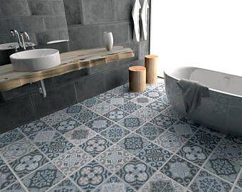 Piastrelle per pavimenti - Vintage blu e grigio - Piastrelle ...