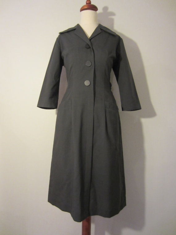 40s Grey Uniform Style Dress, S