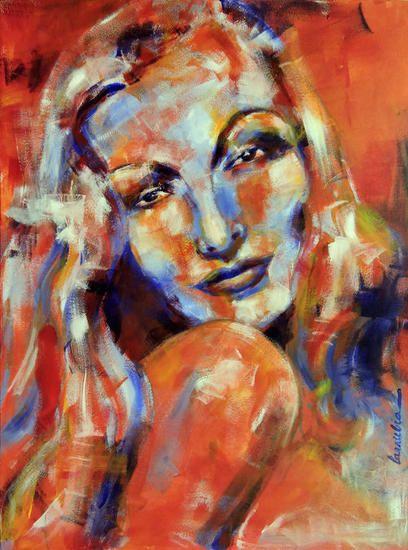 Angela Larrubia-Verónica Lake .el motivo de elegir esta obra es porque me ha llamado la atención ante las otras,utiliza colores cálidos utilizando como técnica el acrílico.