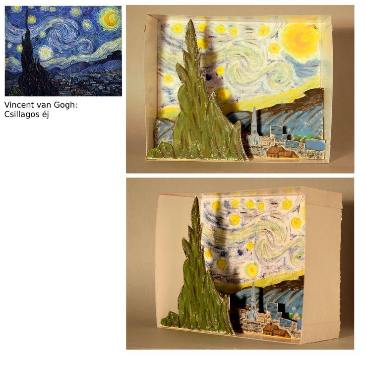 Maczkó Péter, dioráma Vincent van Gogh Csillagos éj c. képe alapján.  Maczkó Péter, diorama - after Vincent van Gogh