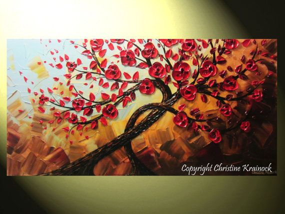 ORIGINAL Art Abstract Painting Red Trees Pair of  2, Flowers Textured Modern Palette Knife Wall Decor Blue Brown Gold Large 24x48 -Christine