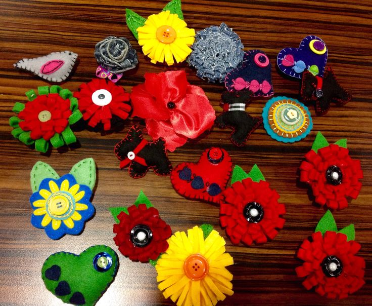 Beautiful brooches made by the ladies