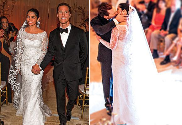 Camila Alves wore this lace gown made by a Brazilian designer with a diamond headpiece and lace mantilla.