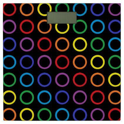 #Rainbow Circles Black Bathroom Scale - #Bathroom #Accessories #home #living