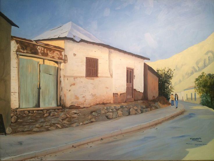Pueblo de Pisco Elqui, en Valle de Elqui, Chile (óleo sobre tela)