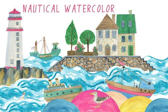 Nautical Watercolor by ramika on @creativemarket