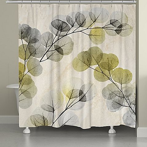 Mask your bathtub in style by hanging the nature-inspired Smokey X-Ray Of Eucalyptus Shower Curtain by Laural Home. Digitally printed, it gives a glimpse into the intricate veins of each leave in shades of green and grey.