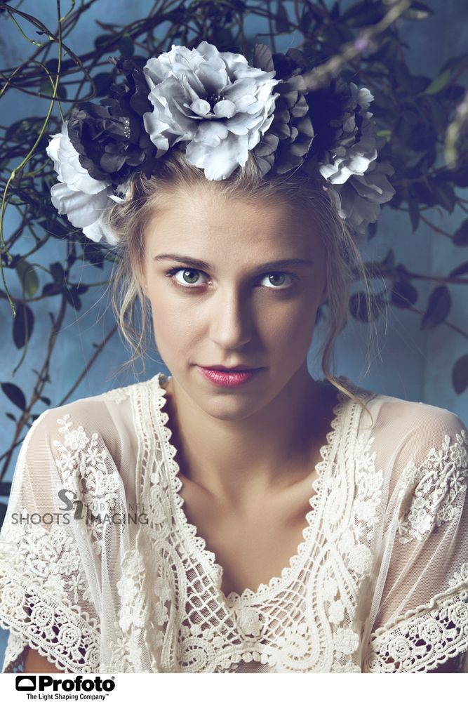 Vintage lace top by Vintage Vices. FLower crown by MrPrice, natural make-up: Madeleine Botha. Photo: Luba V Nel