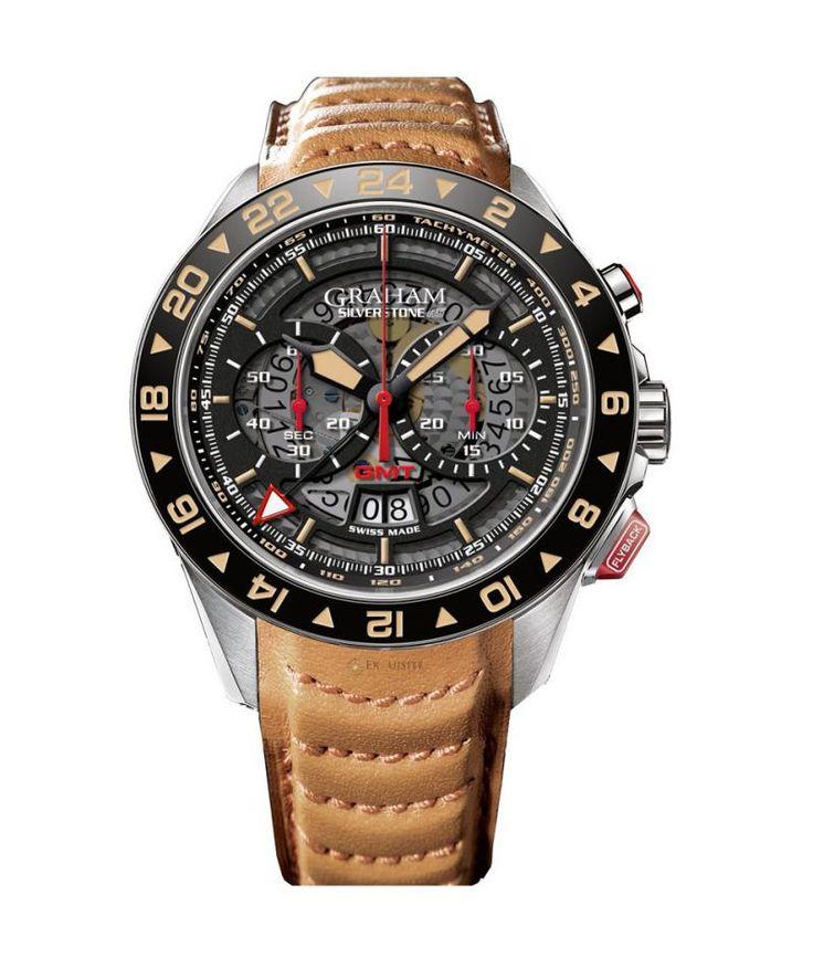 Graham RS GMT Silverstone Steel - швейцарские мужские часы наручные, стальные, черные, коричневые